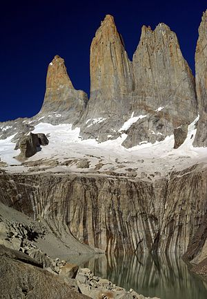 English: A vertical panorama of the Torres del...